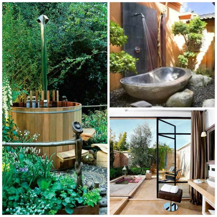Open air bathroom in the embrace of a garden gardening - Open air bathroom designs ...