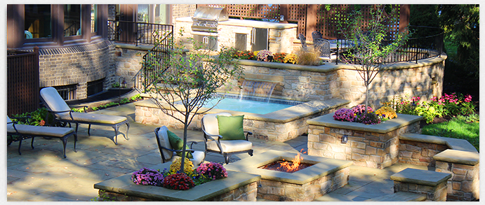 outdoor spa and landscaping